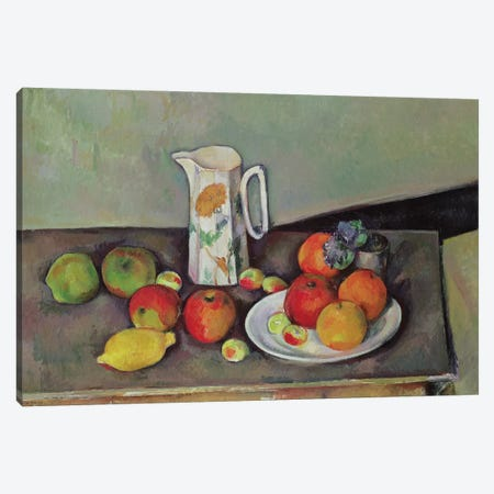 Still life with milk jug and fruit, c.1886-90  Canvas Print #BMN9720} by Paul Cezanne Canvas Art