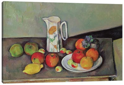 Still life with milk jug and fruit, c.1886-90  Canvas Art Print
