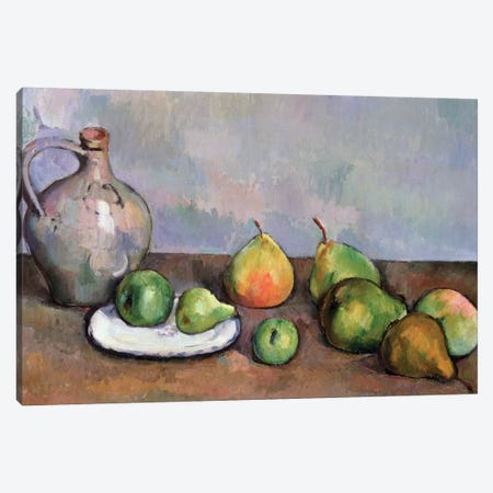 Still Life with Pitcher and Fruit, 1885-87  Canvas Print #BMN9721} by Paul Cezanne Canvas Art