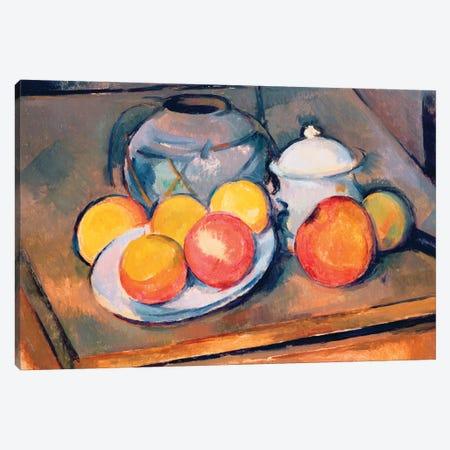 Straw-covered vase, sugar bowl and apples, 1890-93   Canvas Print #BMN9723} by Paul Cezanne Canvas Art