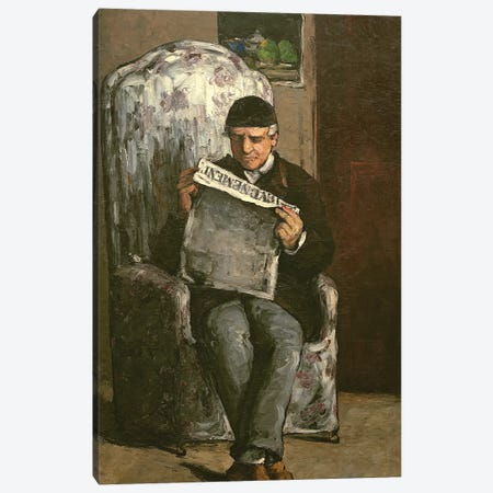 "The Artist's Father, Reading ""L'Événement"", 1866  Canvas Print #BMN9724} by Paul Cezanne Canvas Art Print"
