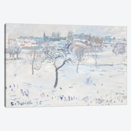 Snowy Landscape at Eragny with an Apple Tree, 1895  Canvas Print #BMN972} by Camille Pissarro Canvas Artwork