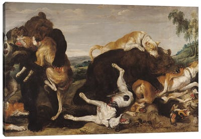 Bear Hunt or, Battle Between Dogs and Bears  Canvas Art Print