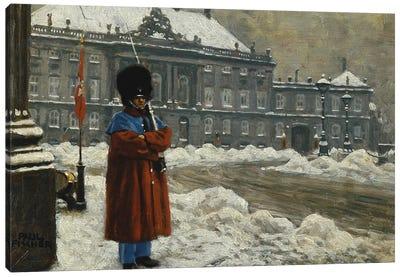 A Royal Life Guard on Duty Outside the Royal Palace Amalienborg, Copenhagen,  Canvas Art Print