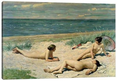 Nude bathers on the beach Canvas Art Print