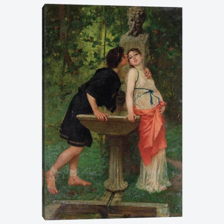 Lovers by a Fountain Canvas Print #BMN974} by Modesto Faustini Canvas Art Print