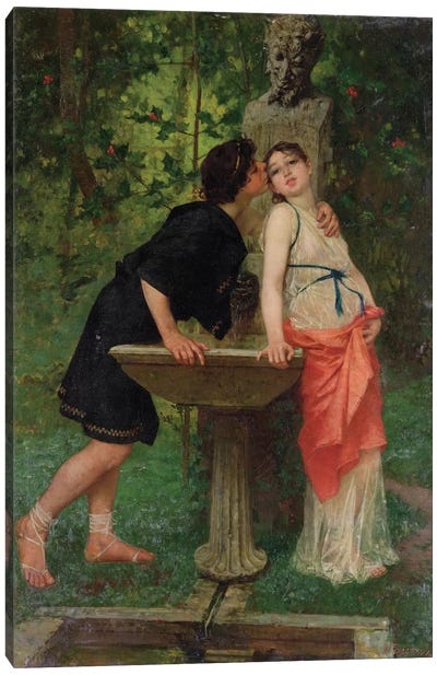 Lovers by a Fountain Canvas Art Print