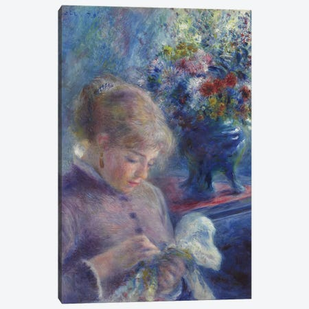 Young Woman Sewing, 1879  Canvas Print #BMN9759} by Pierre-Auguste Renoir Canvas Art Print
