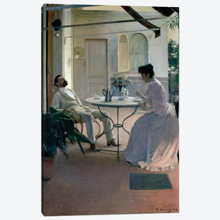 Open Air Interior, Barcelona, 1892  Canvas Print #BMN9760} by Ramon Casas I Carbo Canvas Art