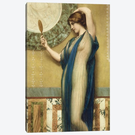A Fair Reflection  Canvas Print #BMN976} by John William Godward Canvas Print