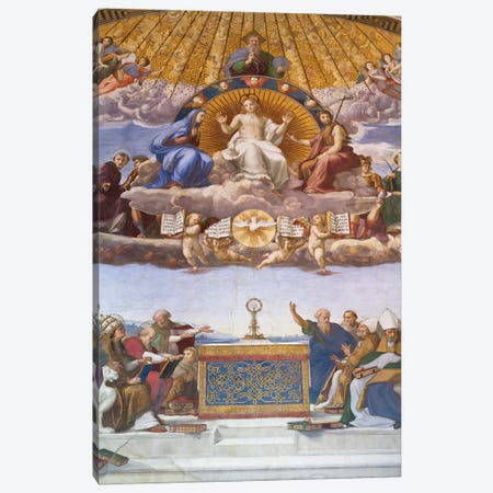 Detail of the Disputation of the Holy Sacrament, c.1509-10  Canvas Print #BMN9770} by Raphael Canvas Print