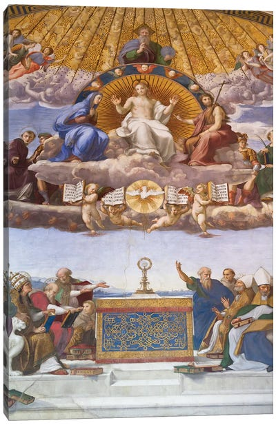 Detail of the Disputation of the Holy Sacrament, c.1509-10  Canvas Art Print