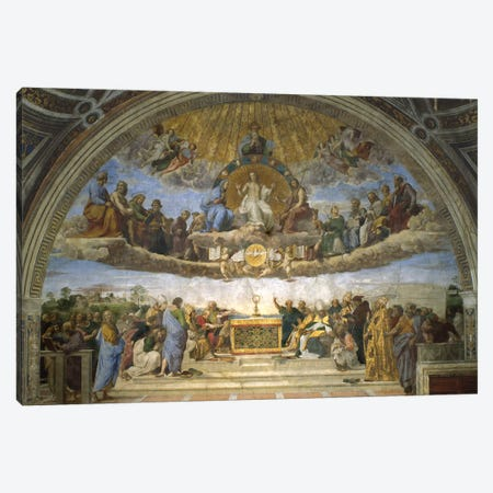 The Disputation of the Holy Sacrament, from the Stanza della Segnatura, 1509-10  Canvas Print #BMN9778} by Raphael Art Print