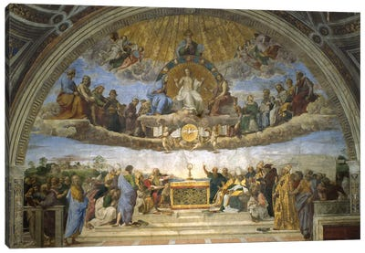 The Disputation of the Holy Sacrament, from the Stanza della Segnatura, 1509-10  Canvas Art Print