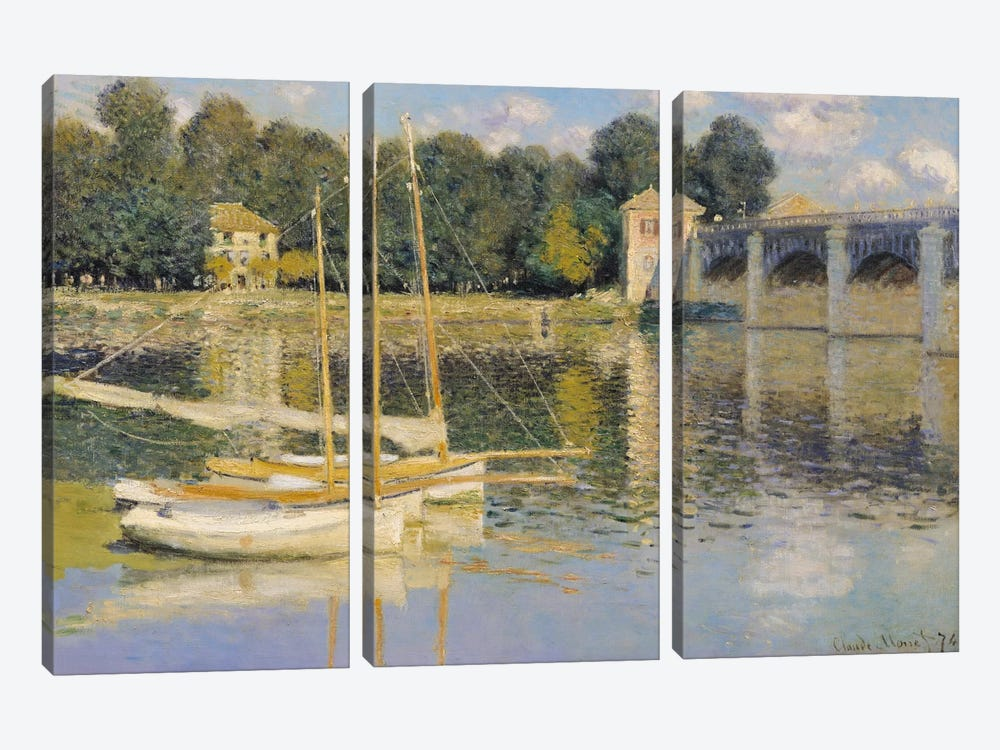 The Bridge at Argenteuil, 1874  by Claude Monet 3-piece Art Print