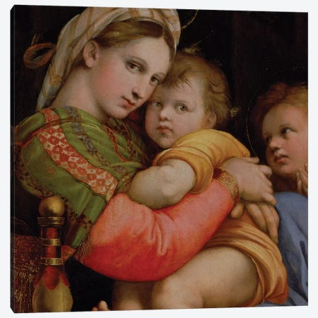The Madonna of the Chair  3-Piece Canvas #BMN9780} by Raphael Canvas Wall Art