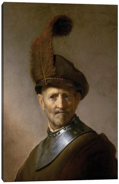 An Old Man in Military Costume , c.1630  Canvas Art Print