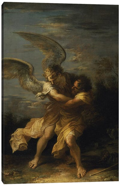 Jacob wrestling with the angel  Canvas Art Print