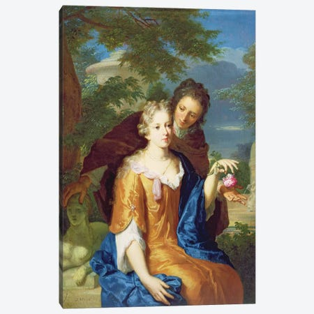 The Young Lovers Canvas Print #BMN979} by Gerard Hoet Canvas Wall Art