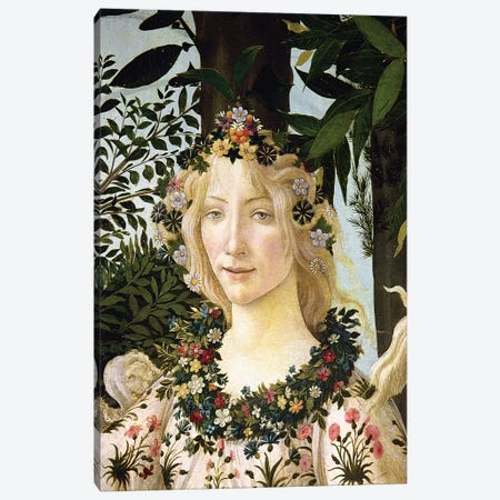 Flora, detail from the Primavera, c.1478  Canvas Print #BMN9801} by Sandro Botticelli Art Print