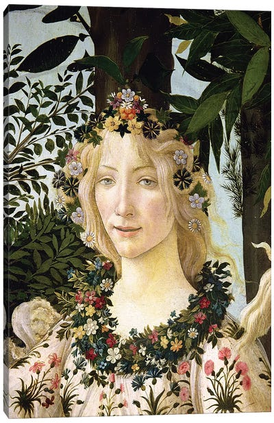Flora, detail from the Primavera, c.1478  Canvas Art Print