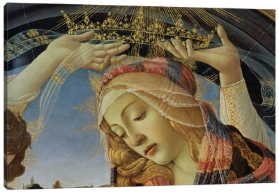 The Madonna of the Magnificat, detail of the Virgin's face and crown, 1482   Canvas Art Print