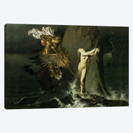 Ruggiero Rescuing Angelica, 1819  Canvas Print #BMN980} by Jean-Auguste-Dominique Ingres Canvas Art Print