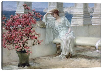 Her eyes are with her thoughts and they are far away', 1897  Canvas Art Print