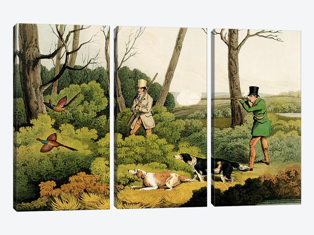 'Pheasant Shooting', pub. by Thomas McLean, 1820  by Henry Thomas Alken 3-piece Canvas Wall Art