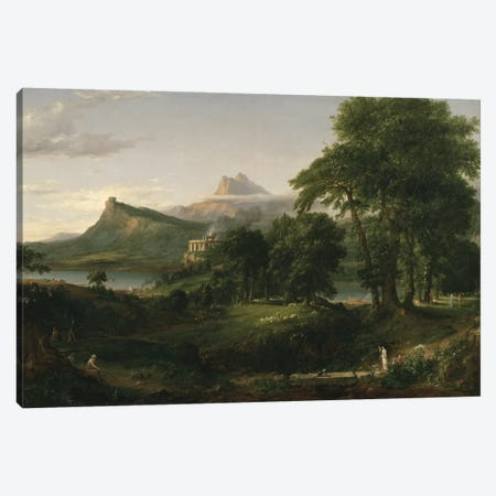 The Course of Empire: The Arcadian or Pastoral State, c.1836  Canvas Print #BMN9830} by Thomas Cole Canvas Wall Art