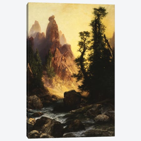 Below the Towers of Tower Falls, Yellowstone Park, 1909  Canvas Print #BMN9838} by Thomas Moran Canvas Wall Art