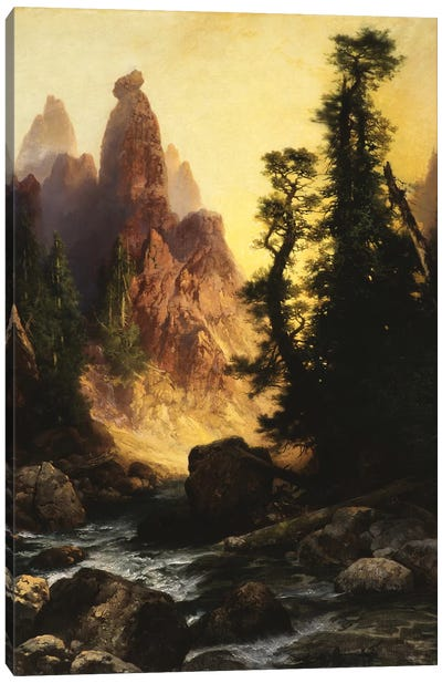 Below the Towers of Tower Falls, Yellowstone Park, 1909  Canvas Art Print