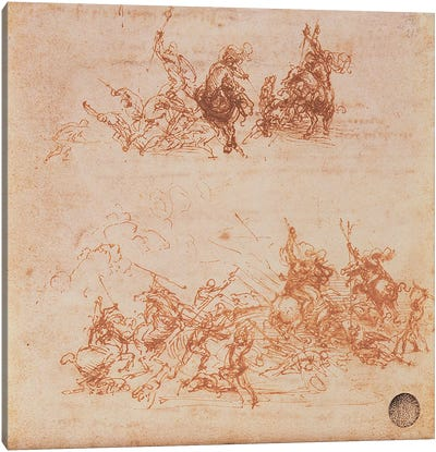 Study of Horsemen in Combat and Foot Soldiers, 1503  Canvas Print #BMN983