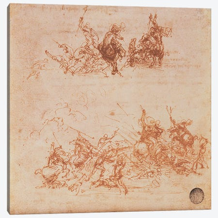 Study of Horsemen in Combat and Foot Soldiers, 1503  Canvas Print #BMN983} by Leonardo da Vinci Canvas Print