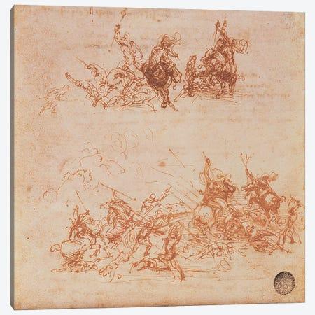 Study of Horsemen in Combat and Foot Soldiers, 1503  Canvas Print #BMN983} by Leonardo da Vinci Canvas Print
