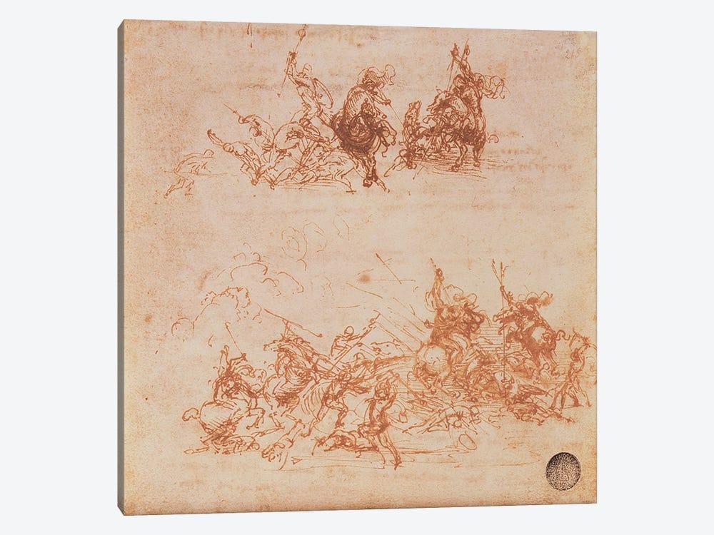 Study of Horsemen in Combat and Foot Soldiers, 1503  by Leonardo da Vinci 1-piece Canvas Art