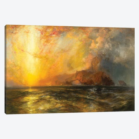 Fiercely the red sun descending/Burned his way along the heavens, 1875-1876  Canvas Print #BMN9841} by Thomas Moran Canvas Print