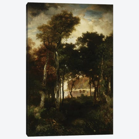 Woods by a River, 1886  Canvas Print #BMN9845} by Thomas Moran Canvas Wall Art