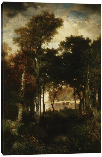 Woods by a River, 1886  Canvas Art Print