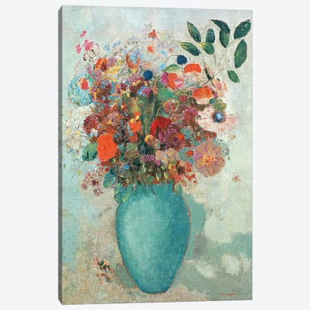 Flowers in a Turquoise Vase, c.1912  Canvas Print #BMN984} by Odilon Redon Canvas Wall Art