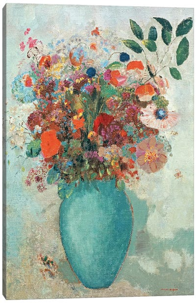 Flowers in a Turquoise Vase, c.1912  Canvas Art Print