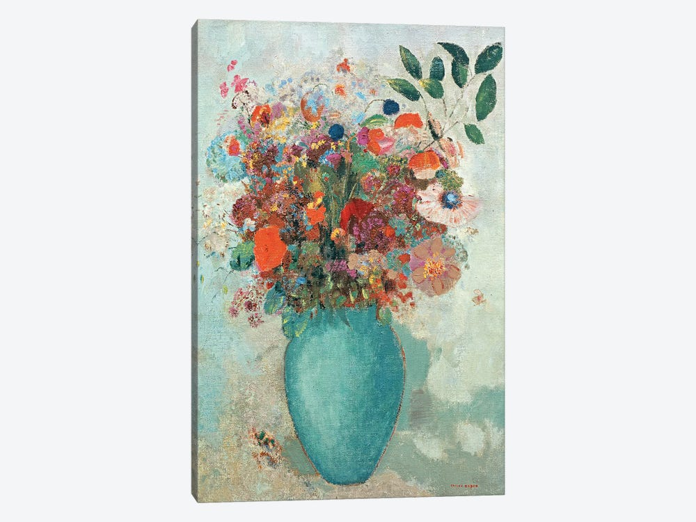 Flowers in a Turquoise Vase, c.1912  by Odilon Redon 1-piece Canvas Print