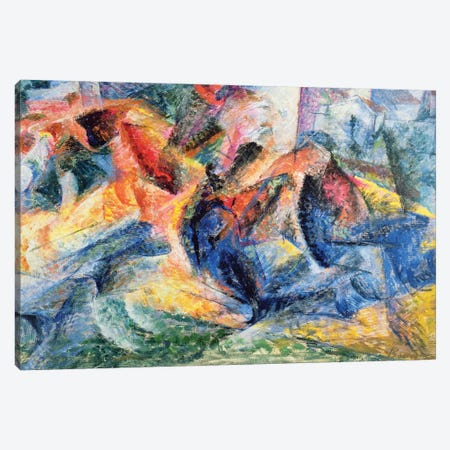 Horse and Rider and Buildings, 1914  Canvas Print #BMN9852} by Umberto Boccioni Canvas Art