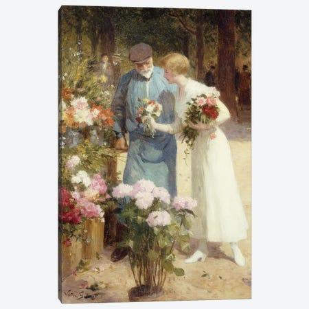 A Flower Market; Au Marche aux Fleurs,  Canvas Print #BMN9856} by Victor Gabriel Gilbert Art Print