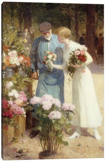 A Flower Market; Au Marche aux Fleurs,  Canvas Art Print
