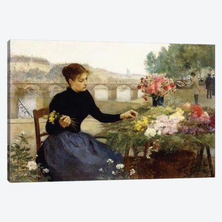 A Parisian Flower Market,  Canvas Print #BMN9857} by Victor Gabriel Gilbert Canvas Print