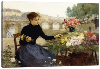 A Parisian Flower Market,  Canvas Art Print