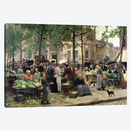 The Square in front of Les Halles, 1880  Canvas Print #BMN9858} by Victor Gabriel Gilbert Canvas Artwork