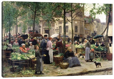 The Square in front of Les Halles, 1880  Canvas Art Print