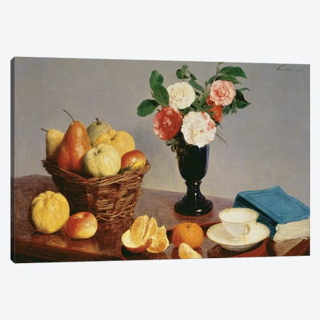 Still Life, 1866  Canvas Print #BMN985} by Ignace Henri Jean Theodore Fantin-Latour Canvas Wall Art